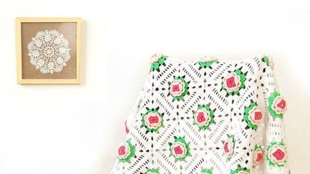 【小脚丫】含苞待放2毯子DIY手工钩针牛奶棉线毛毯沙发垫盖毯午睡毯坐垫编织视频教程编织图案及方法