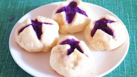 紫薯开花馒头的家常做法, 防癌保肝营养丰富