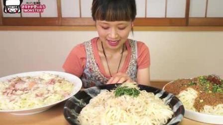 日本大胃王俄罗斯佐藤挑战吃肉末酱、培根温泉蛋和金枪鱼3种拌面