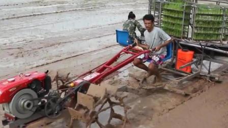 农民组装水稻抛秧机, 手扶拖拉机拉着, 很实用
