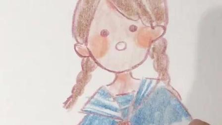 手绘手账素材可爱插画女孩1