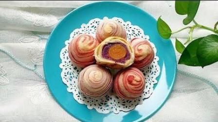 美食制作  教你做高颜值味道鲜美的紫薯馅彩色蛋黄酥