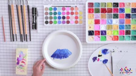 简单易学水粉画 如何在三分钟画出富士山 初级最简单水粉画视频