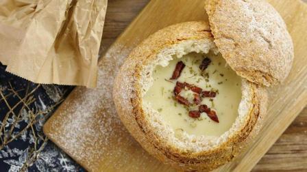 自制土豆培根面包浓汤, 简单又美好的西式浓汤