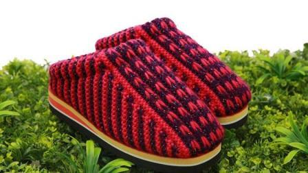 巧手女工编织坊第二十一集   小辫子花拖鞋编织教学视频儿童毛线拖鞋编织方法