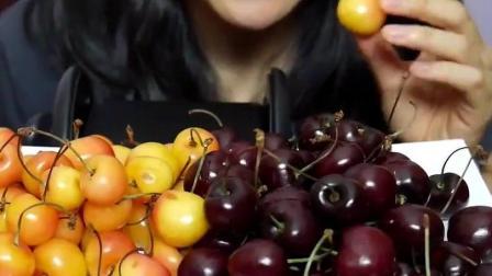 韩国妹子2种樱桃, 酸酸甜甜的味道真是好滋味