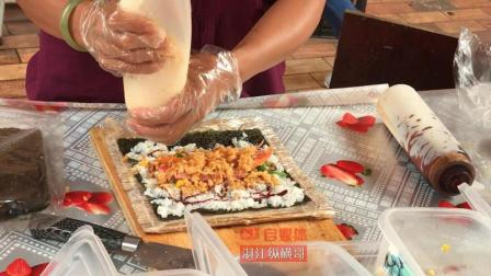 实拍街头寿司制作, 一摊一卷一切, 美味立现眼前