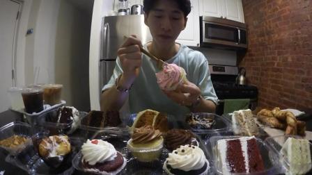 韩国大胃王奔驰哥, 吃十几种口味的小蛋糕, 感觉越吃越瘦了?