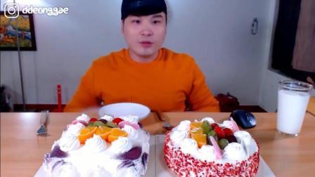 大胃王胖哥 吃完2个奶油蛋糕 他吃的不腻?