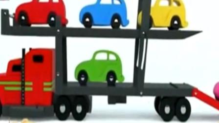 大卡车 工程车玩具视频 大卡车运小汽车 宝宝学习汽车颜色