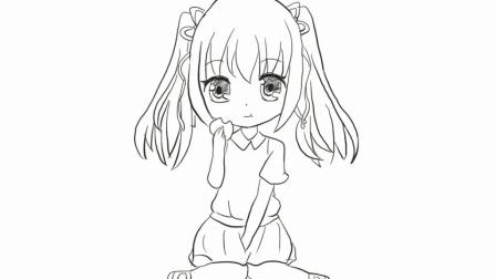 中秋节可爱小女孩吃月饼育儿亲子简笔画 宝宝轻松学画画