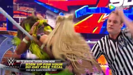 WWE美式摔跤娱乐 2017夏季狂潮大赛 SD女子冠军赛 娜欧米飞身甩落重磅炸弹