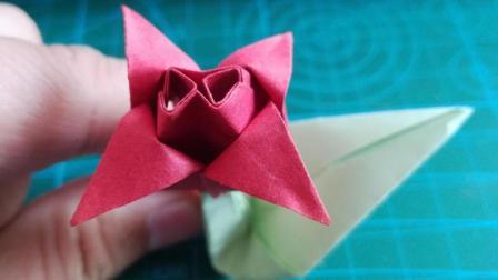 折一朵郁金香! 折纸花简单又漂亮! 手工折纸大全图解步骤