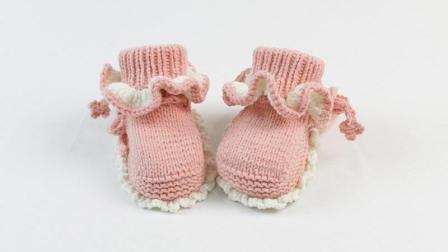 雅馨绣坊宝宝鞋编织视频第26集:宝宝高筒鞋花边款细线编织花样