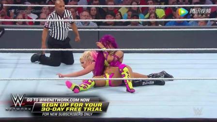 WWE美式摔跤娱乐 2017夏季狂潮大赛 RAW女子冠军赛 小魔女扯发发狠被反击
