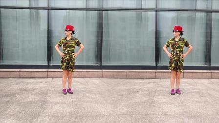 贝雷帽迷彩服! 如此帅气的水兵舞你怎么还不学! 萧山蝶恋舞广场舞《格桑拉》