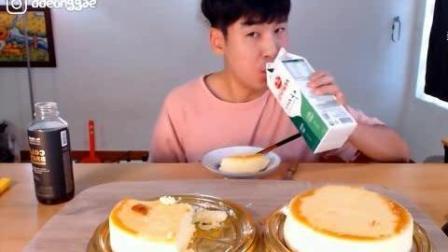 韩国大胃王吃播豪放派donkey哥哥吃2大个松软芝士蛋糕, 喝牛奶