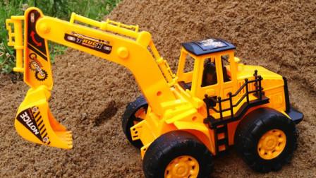 挖掘机工作视频 儿童工程车表演 车总动员动画片