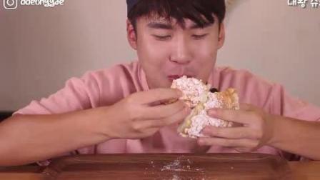 韩国吃播豪放派大胃王donkey哥哥ASMR吃超级巨大的奶油泡芙