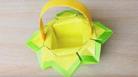 折花边的篮子! 折纸大全图解简单又漂亮! 手工创意diy纸艺