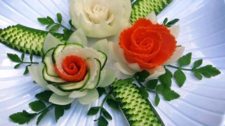 用洋葱、胡萝卜、白萝卜、西葫芦做的蔬菜拼盘, 超简单超漂亮