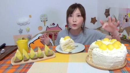 日本大胃王吃货木下妹子自制4层新鲜哈密瓜奶油蛋糕, 2.2kg啊