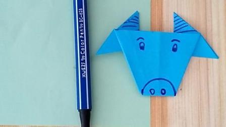 儿童折纸教学, 奶爸折纸教学, 小牛头像折纸教学