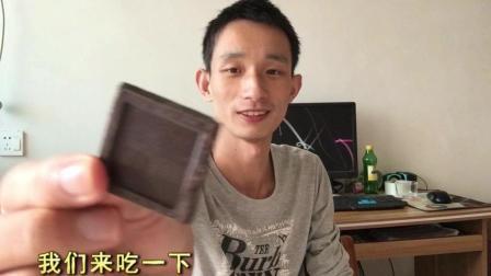 试吃纯脂黑巧克力, 一点糖分都没有, 越嚼越苦