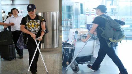 吴京拄着拐杖现身机场无人陪同, 网友: 不愧是硬汉, 难怪《战狼2》能火!