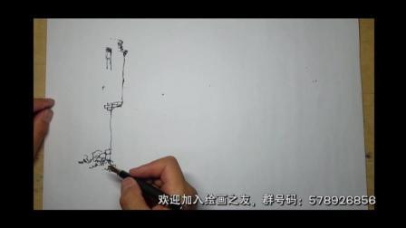 延杨红钢笔风景速写: 岭南建筑
