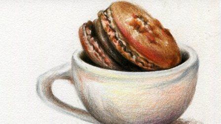 【艺达】彩铅写实教程-杯子里的马卡龙