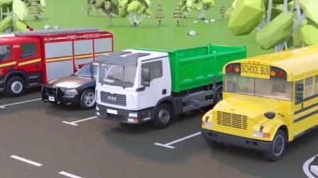 幼儿早教双语汽车动漫 大卡车运输汽车学习颜色和认识大巴士水泥搅拌车挖掘机拖拉机