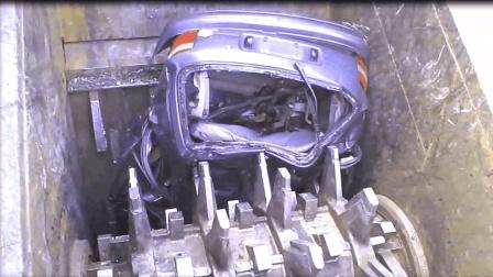 这么强的粉碎机还是第一次见, 一台汽车几秒钟就成了碎渣