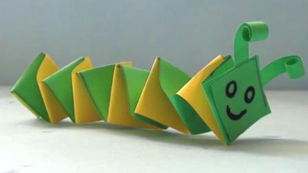 手工DIY折纸教程, 教小朋友制作一个简单的毛毛虫