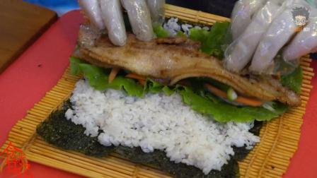 韩国街头小吃五花肉紫菜包饭