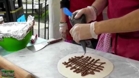 意大利油美食 炸巧克力香蕉披萨 外形就是一个大饺子