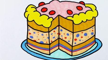 用水彩笔画一个美味芝士蛋糕 爸爸梦工厂