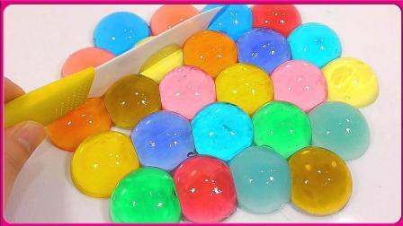 彩虹水晶冰冻果冻创意DIY自制 亲子手工培乐多果冻粘土玩具试玩 小猪佩奇 火影忍者