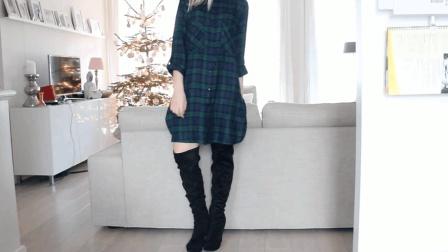 用过膝长筒靴搭宽松格子连衣裙, 百搭显瘦, 尽显高贵女王气质