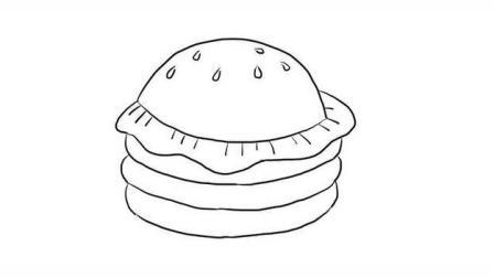 双层汉堡包幼儿亲子简笔画 宝宝轻松学画画