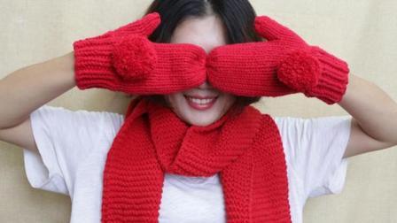 雅馨绣坊手套编织视频第一集:平针毛球手套手工编织款式