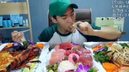 大胃王奔驰小哥吃9斤的帝王蟹和7斤的龙虾, 这海鲜吃的真过瘾