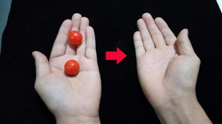 魔术教程: 2个小球隔空转移, 其实方法特简单