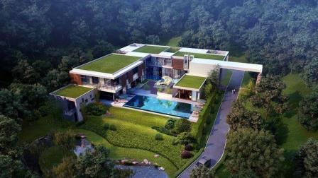 现代主义别墅带泳池
