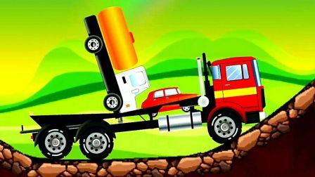 工程车视频之大卡车模拟运输小汽车第08期 油罐车从卡车车厢飞出 阿克叔游戏