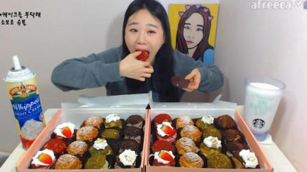 韩国大胃王卡妹, 吃32个迷你小蛋糕, 一口吃一个, 真怕你噎着