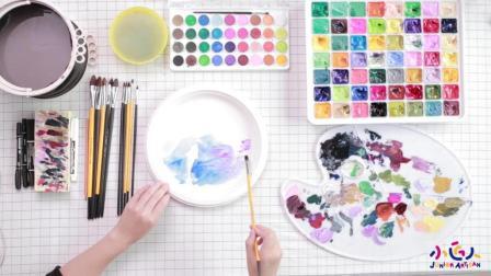 儿童水粉画锦鲤, 儿童水粉画创意美术视频作品折纸