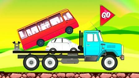 工程车视频之卡车模拟运输汽车工程车油罐车挖掘机第03期  小汽车被压车厢底部 阿克叔游戏