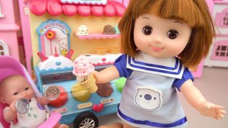 小猪佩奇开玩具冰淇淋车卖香草味的冰淇淋给超级飞侠吃