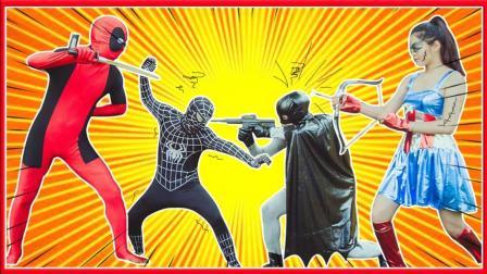 蝙蝠侠与艾莎公主遭遇防狼喷雾 超级英雄学校蜘蛛侠恶作剧真人秀 小猪佩奇 美国队长